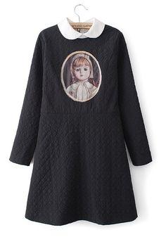 Black Figure Thick Below Knee Cotton Blend Dress