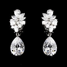 Glamorous Cubic Zirconia Clip On or Pierced Wedding Earrings