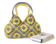 Flower crochet handbag in yellow and gray crochet bag by zolayka, $85.00