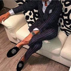 Get the italian look, pin striped suit and some slip on lo…   Flickr - Photo Sharing!