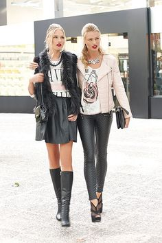 Best friends do it better... As for your outfit, all you need is a pair of leather leggings and heeled shoes to drag all eyes on you!