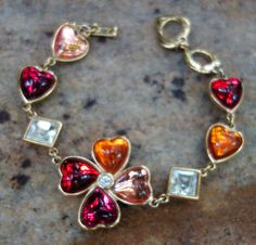 YSL Yves Saint Laurent Hearts and Crystal Bracelet by Vintageables