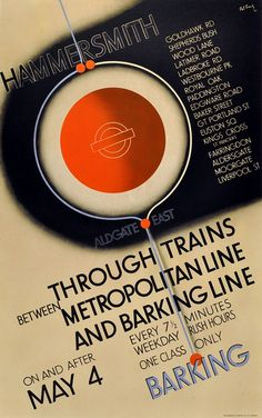 Hammersmith London Underground, 1936 - original vintage poster by Pat Keely. Vintage Advertising Posters, Vintage Travel Posters, Vintage Advertisements, Retro Posters, Art Posters, Vintage Ads, London Underground, Underground Tube, London Poster