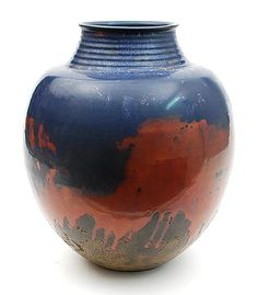Earthenware vase with red and blue reduced fired glaze design execution by Mobach Utrecht / the Netherlands ca.1940