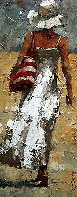 Andre Kohn The Day Off Original Oil Painting Figure Painting, Painting & Drawing, Art Des Gens, Art Sur Toile, People Art, Beach Art, Beautiful Paintings, Painting Inspiration, Amazing Art