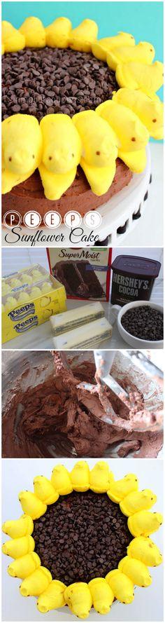 Peeps Sunflower Cake (Super Easy!)