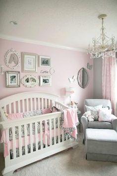 great grey and pink nursery by Raelynn8
