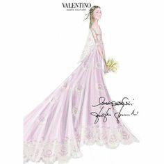 muchadoaboutroyals: Civil Wedding of Pierre Casiraghi and Beatrice Borromeo, Monaco, July 25, 2015-the wedding dress of Beatrice Borromeo, a Valentino Haute Couture gown of pale pink silk chiffon, designed by Creative Designers Maria Grazia Chiuri and Pierpaolo Piccioli; it is a modified design from the Valentino Spring/Summer 2015 Collection.