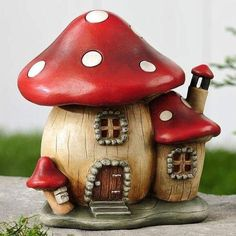 Dotted Mushroom House. www.teeliesfairygarden.com . . . Turn your garden into a place where enchanted little creatures are welcome to stay with this large mushroom house as a home for the elves! #fairyhouse