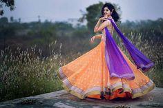 Orange and purple anarkali. copyright: shiv kumar #anarkali #indian fashion