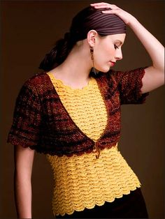"This sunny yellow top, featuring a rippling shell pattern, is ""topped"" to perfection with a contrasting little bolero. FREE Pattern"