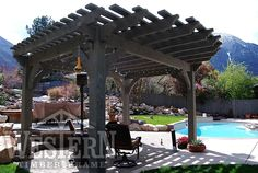 Family Size Pergola Pictures Gallery | Western Timber Frame - bowen-pergola5_12x16