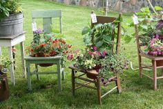 Vintage chair planters
