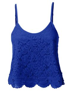 LE3NO Womens Loose Floral Crochet Scalloped Cropped Tank Top