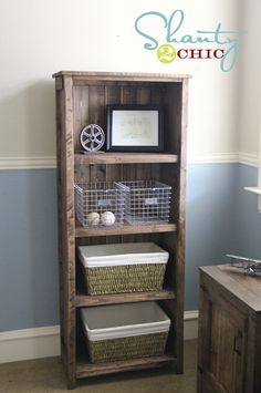 A gorgeous book shelf DIY with plans :) looks like we'll build our own bedroom furniture when I have a bedroom big enough to put it all in!!