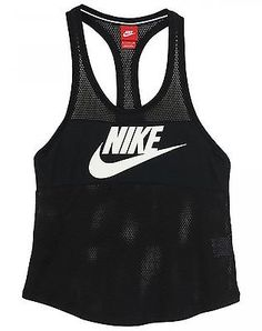 Nike Three-D Tank Womens 586552-010 Black White Tank Top Shirt Wmns Size L