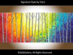 Original Large Acrylic landscape painting Impasto por QiQiGallery