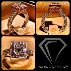 """Here is a ring for all of you who have been waiting patiently to see something with pink diamonds! My latest vintage-inspired design features a 0.83 carat princess cut within a rose gold and natural pink diamond halo. I designed the initials of the couple """"AA"""" into the gallery of the ring to give it that personalized touch. Vintage design elements around the band in white gold completes this """"WOW"""" piece. #diamonds #weddings #engagementring #vintage #jewelry #thediamondstudio"""