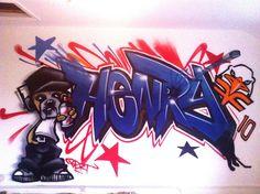children / teen / Kids Bedroom Graffiti mural - hand painted Henry Bulldog and ice hockey Detail graffiti bedroom design #graffitibedroom #interior design