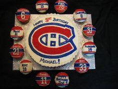 Cake + cupcake = winning birthday treat from Tammy! Hockey Birthday Parties, Hockey Party, Birthday Treats, 4th Birthday, Birthday Cake, Montreal Canadiens, Hockey Cupcakes, Party Themes, Party Ideas