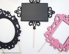 Double Sided Ornate Photo Booth Frames, and 1 Chalkboard Sign. Wedding Photo Props, Wedding Photos, Party Props, Party Themes, Party Ideas, Diy Fotokabine, Diy Photo Booth, Its My Bday, Wedding Favours