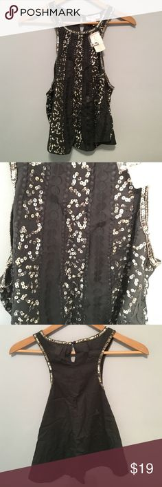 Sequined Top NWT! Dark gray top. New with Tags. Can be paired with a bandeau, cute shorts or white jeans! It's a large but can still fit a small or medium without it looking too loose. Forever 21 Tops