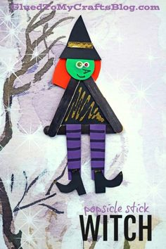 Popsicle Stick Halloween Witch - Kid Craft Idea