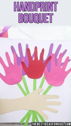 Handprint Flowers - Kids Crafts - Handprint Flowers – such a cute craft for Mother& day! An easy Mother& day craft for - Kids Crafts, Easy Mother's Day Crafts, Fun Projects For Kids, Spring Crafts For Kids, Cute Crafts, Toddler Crafts, Preschool Crafts, Diy For Kids, Adult Crafts
