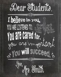 Dear Students Teacher Chalkboard Classroom by GottaTeachEmAll Chalkboard Classroom, Classroom Quotes, Classroom Posters, Teacher Quotes, Classroom Themes, Classroom Organization, Classroom Management, School Posters, Music Classroom