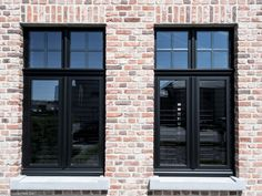 Shared by www. House Windows, Facade House, Windows And Doors, Black Windows, Casa Loft, Belgian Style, Interior Windows, Outdoor Paint, Windows
