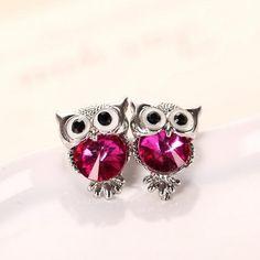 H:HYDE Brand Jewelry Crystal Owl Stud Earrings For Women Vintage 11 Colors Animal Statement Earrings Brincos oorbellen,