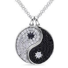 Miadora Silver Black Spinel and White Sapphire Yin Yang Necklace with Bonus Earrings | Overstock™ Shopping - Top Rated Miadora Cubic Zirconia Necklaces