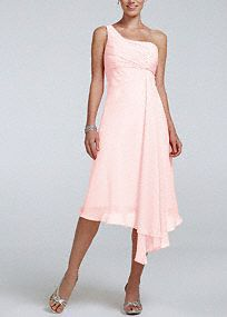 Short One Shoulder Crinkle Chiffon Dress, this color is terrible for me but I like the style