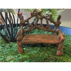"Cardinal Branch Bench - $8.00  Wood twig look bench in brown with cardinals sitting on the twig back. Stands 3"" tall."