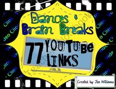 Great physical activity for any age, this PDF file has 77 YouTube video hyperlinks to kid dances and brain breaks that when clicked on will start playing the video from the YouTube web site.  The links are organized by dances and brain breaks with categor