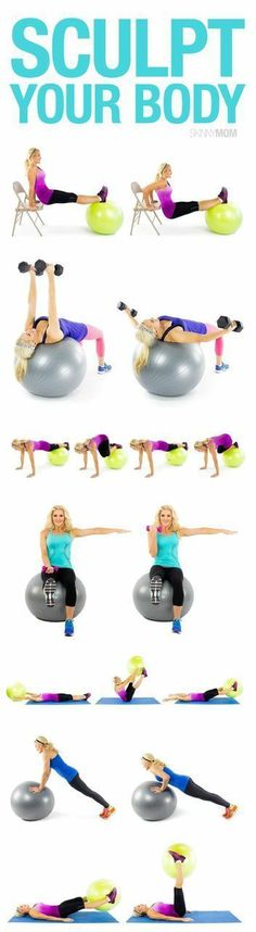 Body-Sculpting Stability Ball Exercises Get a total body workout with these 10 moves.Get a total body workout with these 10 moves. Fitness Motivation, Fitness Diet, Health Fitness, Squats Fitness, Fitness Quotes, Stability Ball Exercises, Flexibility Exercises, Weight Exercises, Core Stability