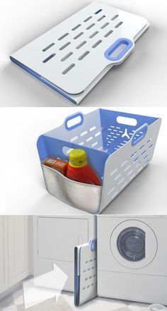 Laundry hamper that folds flat for easy storage.. Still don't think it would get me to enjoy laundry, but what an awesome idea!! <3