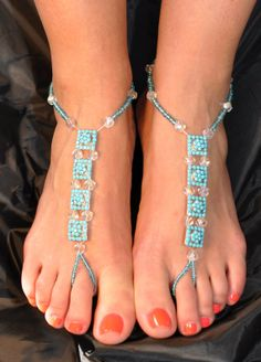 Barefoot sandals, slave anklets, turqoise, silver, and clear anklets, beach jewelry, boho style