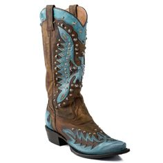 Stetson Cowgirl Boots Women's Mad Dog Shaft W/Turquoise Eagle Underlay Snip Toe