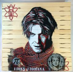 "Artist: Voxx RomanaTitle: - David BowieMedium: Mixed MediaEdition: Original one of a kindSize: 21in"" x 21in""x 4in on wood palletMarkings: Signed by Artist on back side 2016For sale is this one of a kind, original 21""x21"" mixed-media David Bowie stencil painting on a wood panel by artist Voxx Romana, created 2016. The artwork will be professionally packaged and shipped out with signature and delivery confirmation. All paintings come with a letter of ..."
