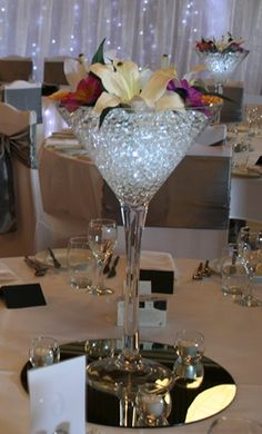 Martini Vase Centrepiece on a Table Mirror