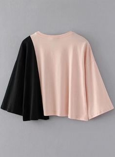Color Block Bow Loose Tee Shirt OASAP.com