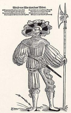 Title: Porträt des Landsknechtes Ulrich von Ulm              Tags: Katzbalger, Kuhmaul shoes, Hat, Landsknecht, Halberd, Chainmail              Date: ca. 1540                        Artist: Niklas Stör              Provenance: Germany              Collection: Grafische Sammlung Albertina