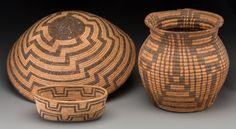 Three Southwest Coiled Basketry Items  c. 1900   including one Havasupai example and two Pima examples, willow, devil's claw    Diameters:  ranging from 8 to 16 inches