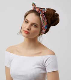 Pink Floral Print Wire Headscarf