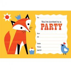 Mister Fox Party invitations - my Birthday is very early in the year, maybe I should have a woodland-inspired party!