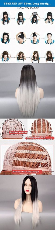 """FESHFEN 25"""" 65cm Long Straight Hair Black And Gray Gradient Color Synthetic Wig Imported Japanese Heat-resistant Synthetic Hair Ombre Black To Grey Gray Wig with Middle Part Hair Bang. FESHFEN wig is of high quality, fashionable and stylish. FESHFEN wig gives you different feelings of yourself. Try FESHFEN, top service and quality belongs to you. How to wear? 1. Take wig out from the packing, give it a few good shakes to release the default style. 2. Remove earrings and comb your own hair…"""