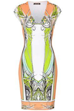 Pink/Orange V-neckline Cap Sleeve Column Print Sheath Dress