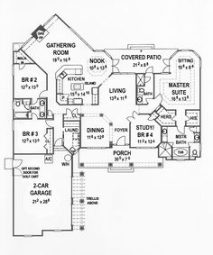 First Floor Plan of House Plan 53499 - ok this is tied for my new dream plans ;)