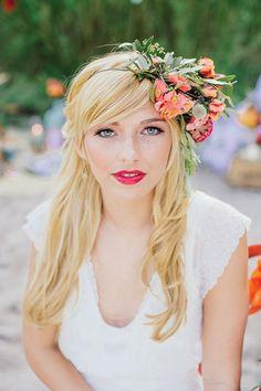 bold and beautiful asymmetrical floral crown @myweddingdotcom